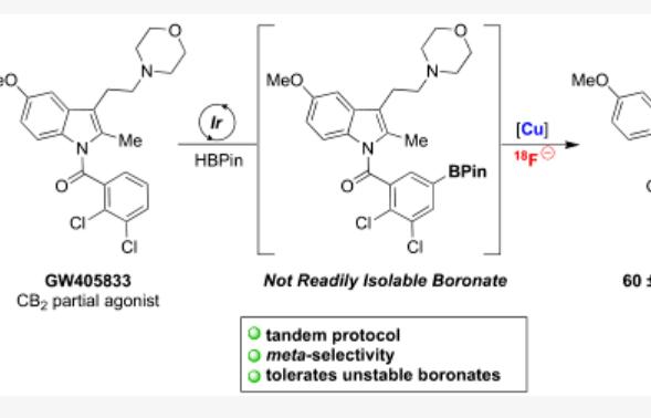 Ir/Cu介导的连续催化(杂环)芳烃C-H键间位选择性放射性氟化反应